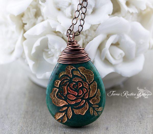 Copper Rose Necklace