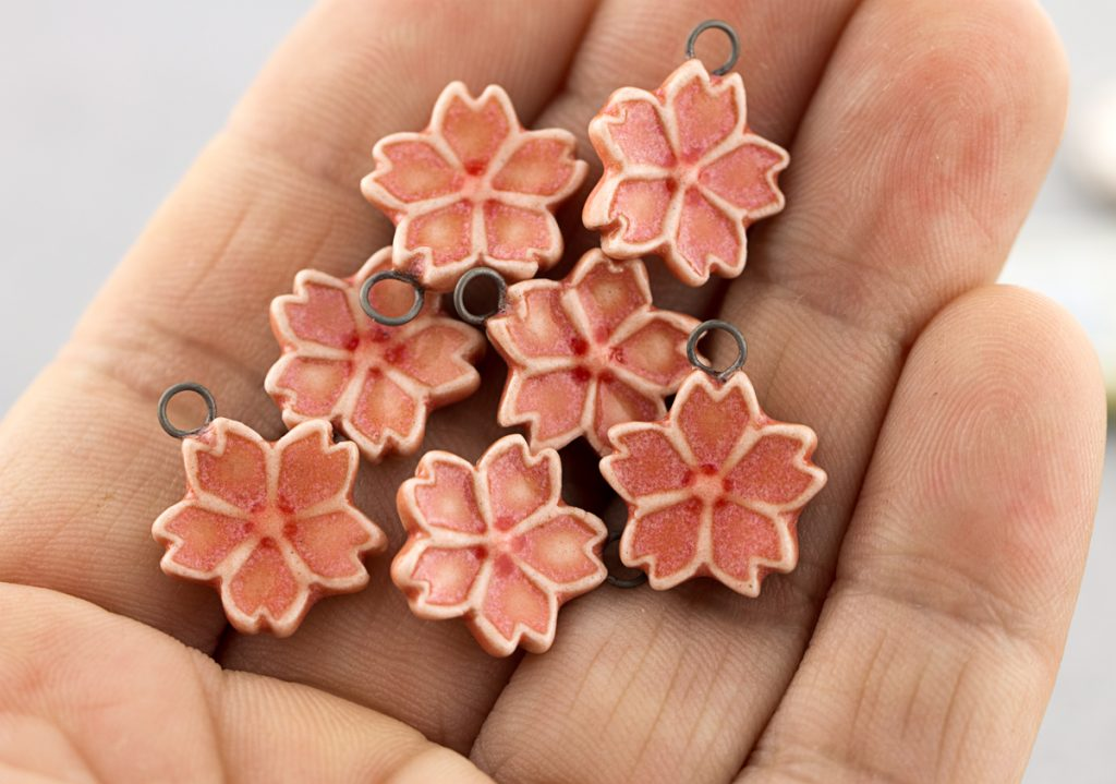 cherry blossom porcelain pendants