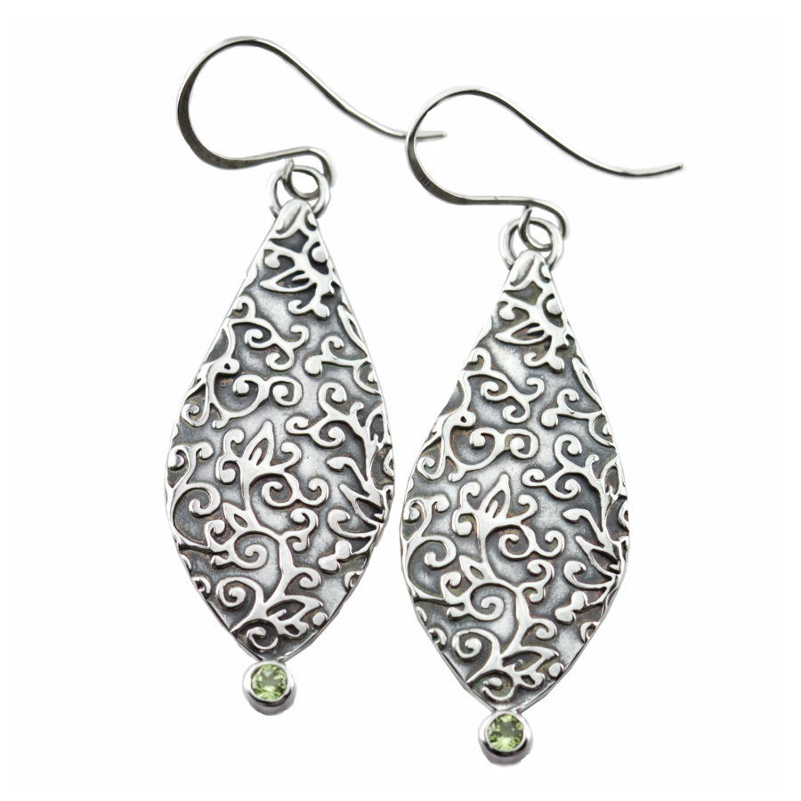 Swirl Leaf Petal Earrings-Terra Rustica Jewelry