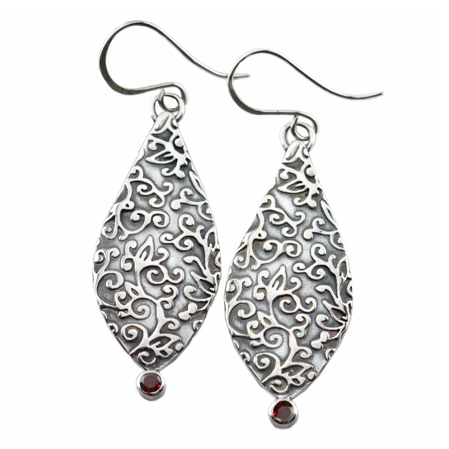 Swirl Leaf Petal Earrings-Terra Rustica Jewelry