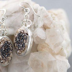 Leaf swirl oval porcelain earrings