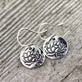 Lotus Awakening fine silver earrings