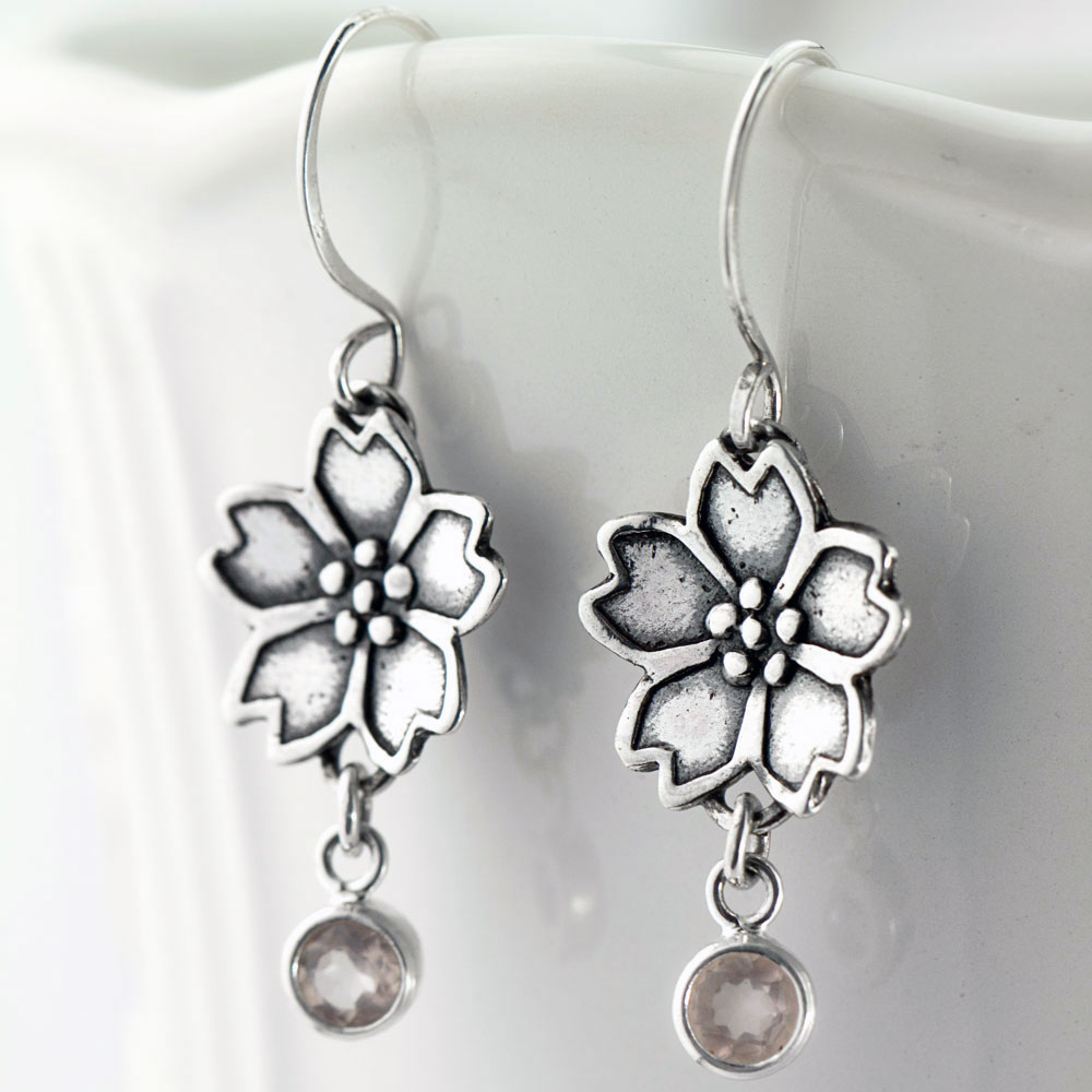 Sakura Cherry Blossom Earrings-Terra Rustica Jewelry