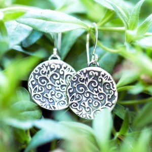 Swirl Leaf Round Earrings-Terra Rustica Jewelry
