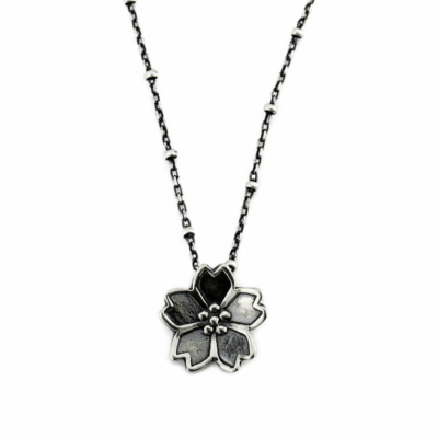 Dainty Sakura Cherry Blossom Necklace-Terra Rustica Jewelry