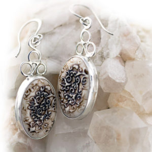 Swirl Leaf Porcelain Earrings