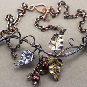 Copper and Brass Leaves Necklace