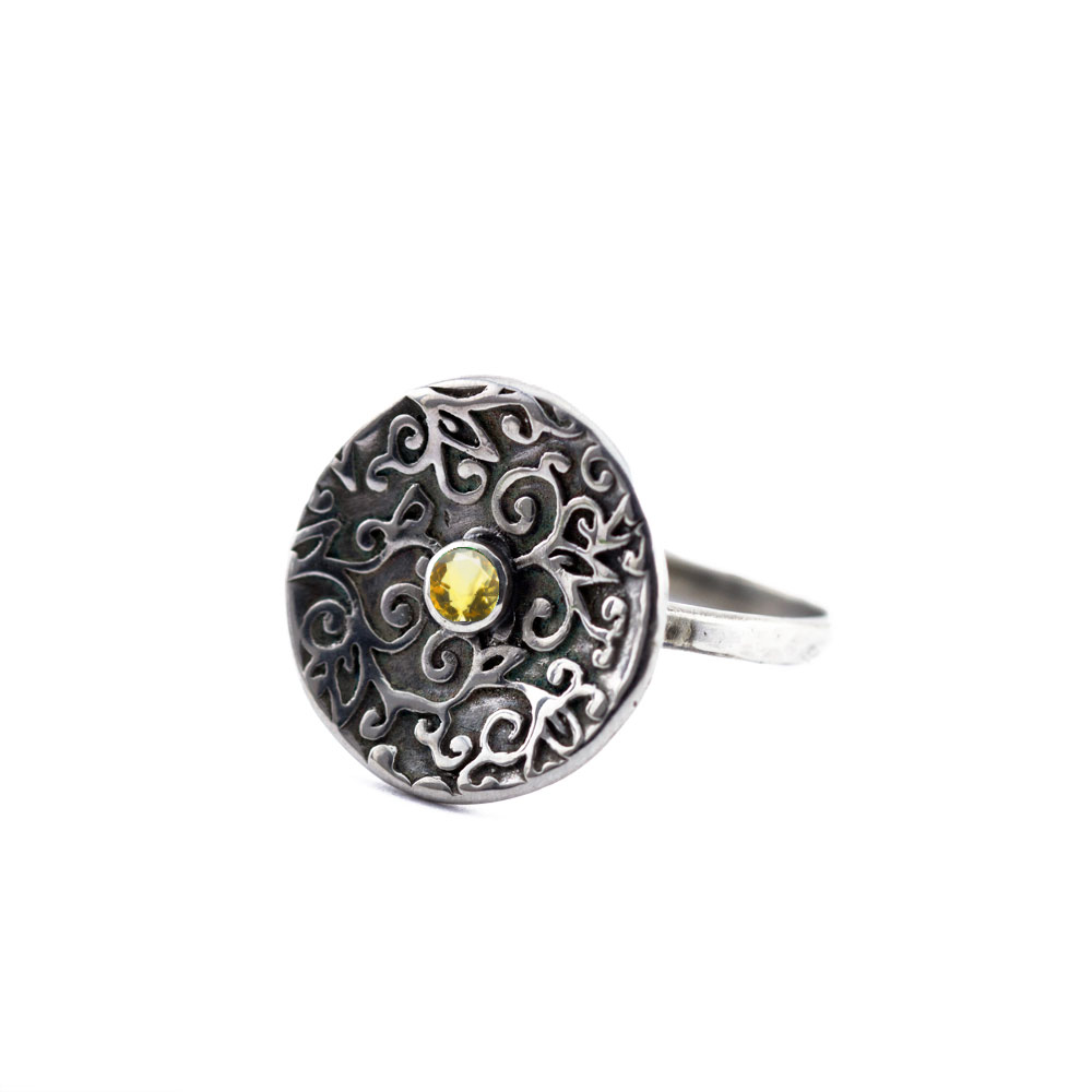 Swirl Leaf Round Ring-Terra Rustica Jewelry