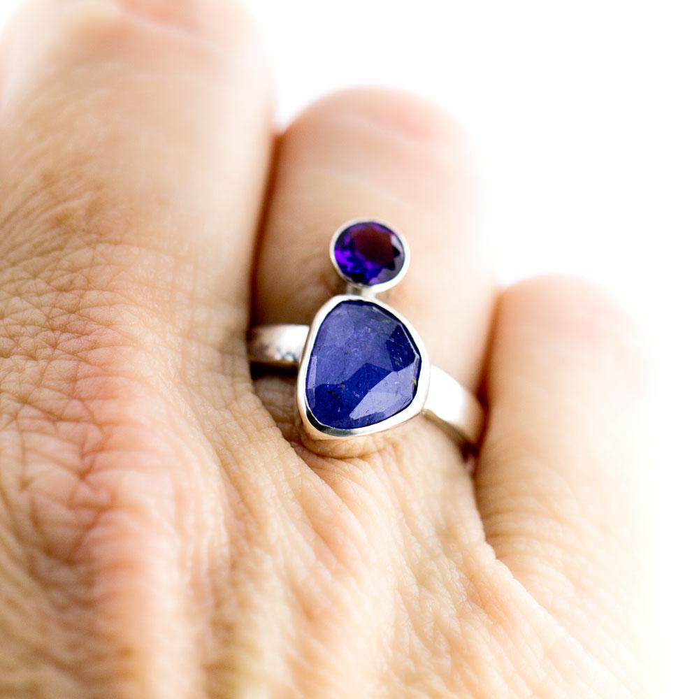 Tanzanite and Amethyst Ring-Terra Rustica Jewelry