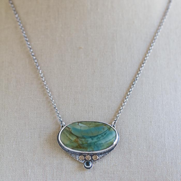 Loon Lake Imperial Jasper Stone Necklace-Terra Rustica Jewelry