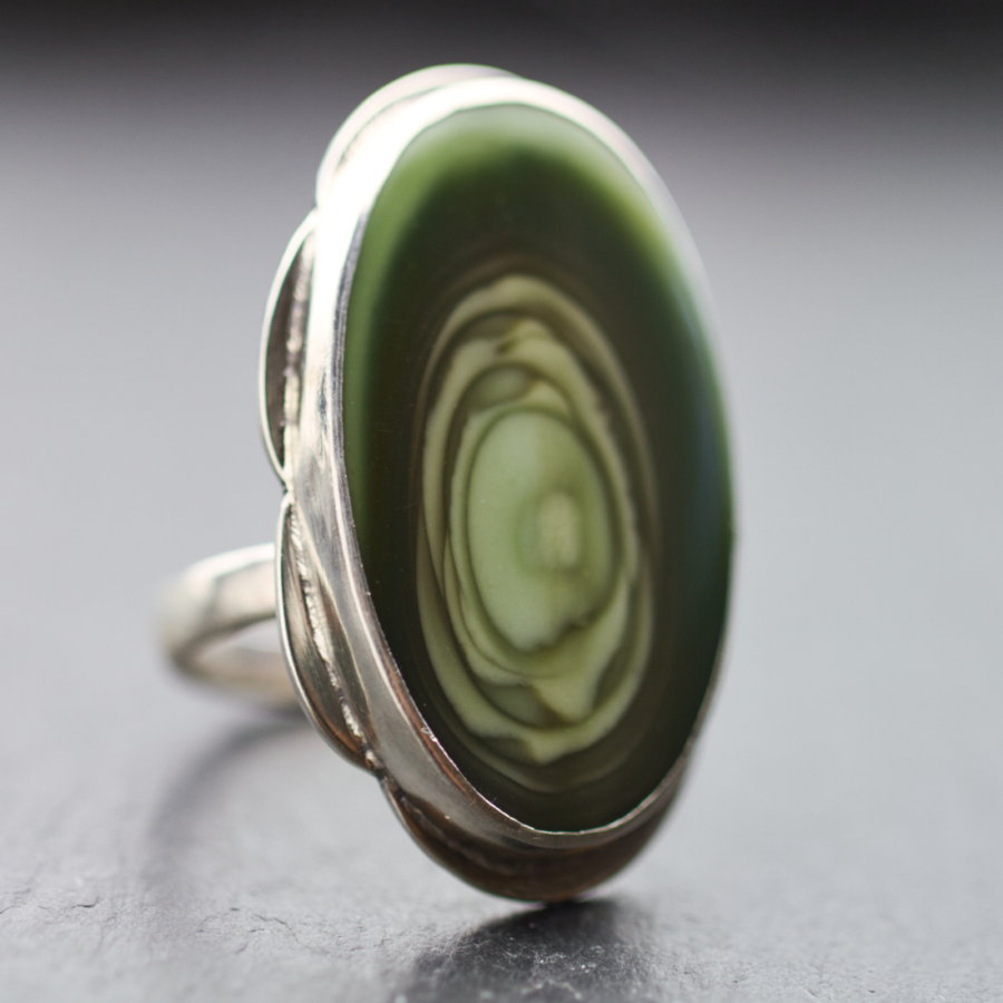 Forest Green Royal Imperial Jasper Ring-Terra Rustica Jewelry