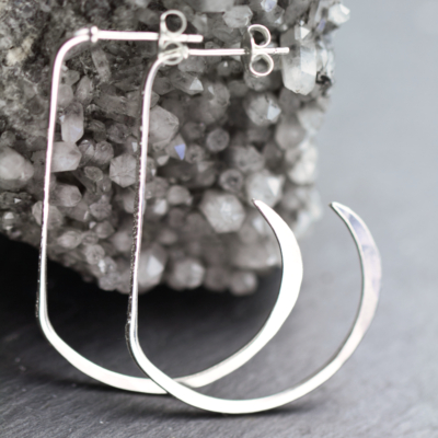Diamond Texture Open Hoop Earrings-Terra Rustica Jewelry