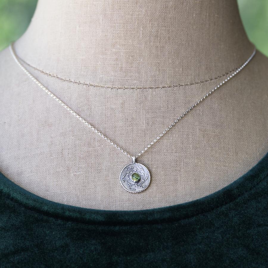 Botanical Foliage Necklace with Gemstone