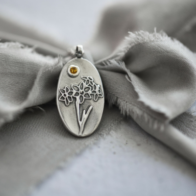 Daffodil Necklace with Gemstone